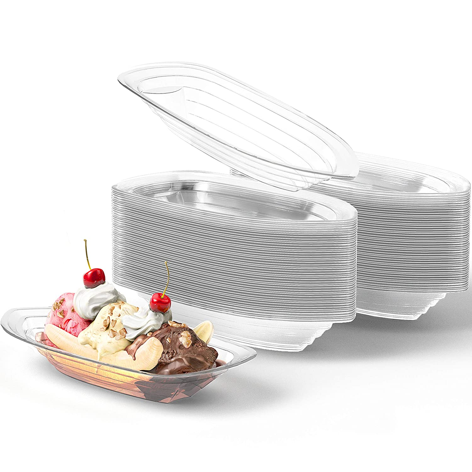 Super Fun, Recyclable Banana Split Boats 100 Pack. Best Long, 12 Oz Disposable Ice Cream Sundae Bowls. Perfect Plastic Sunday Cups for a Social or Kids Birthday Party. Great Clear Boat for Carnivals