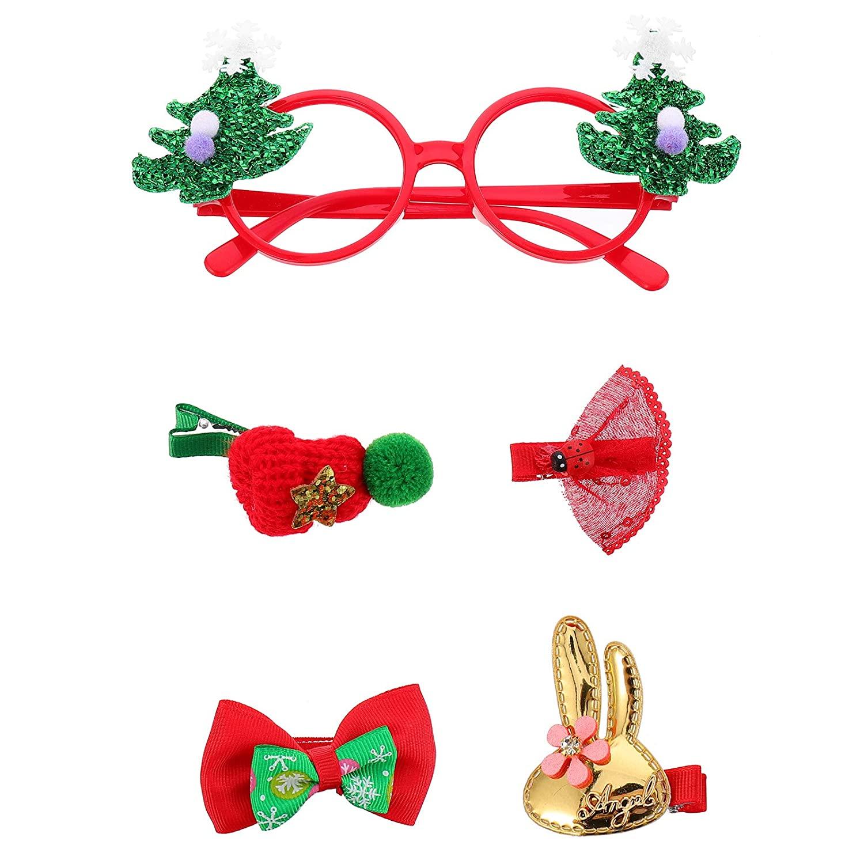 5Pcs Christmas Hair Clips Set Adorable Christmas Glasses Barrettes Accessories