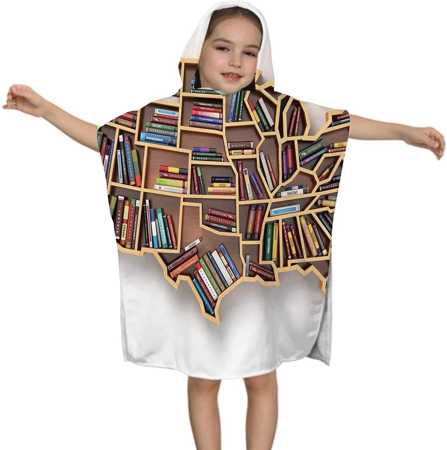 C COABALLA USA Education or Market of Books Concept.Book Shelf as map USA.3D,Kids Hooded Beach Bath Towel - Swim Pool Coverup Poncho Cape Multi-use
