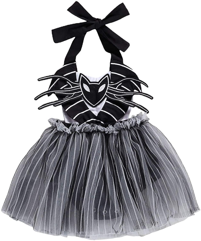 Newborn Infant Toddler Baby Girl Halloween Sleeveless Halter Spider Bodysuit Tutu Dress Jumpsuit Holiday Costumes