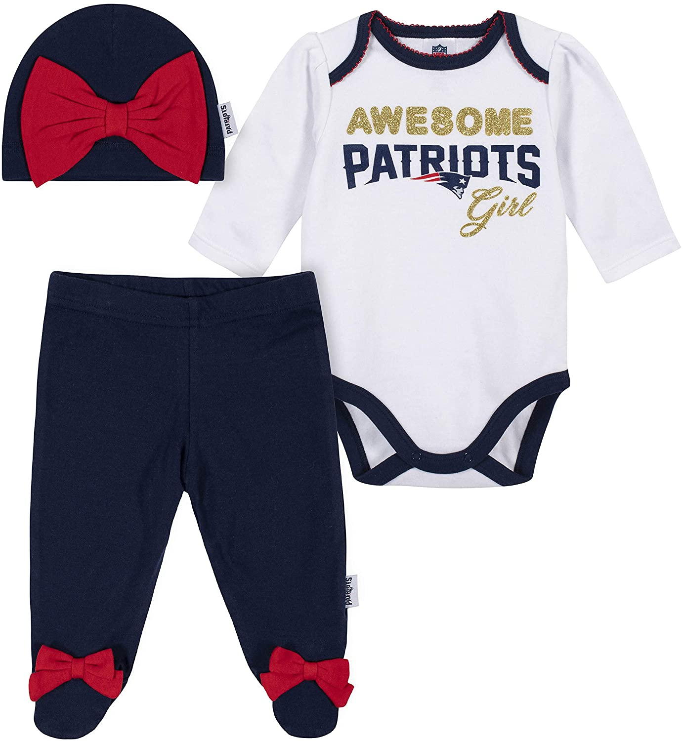 NFL Girls 3 Pack Bodysuit Footed Pant and Cap Registry Gift Set