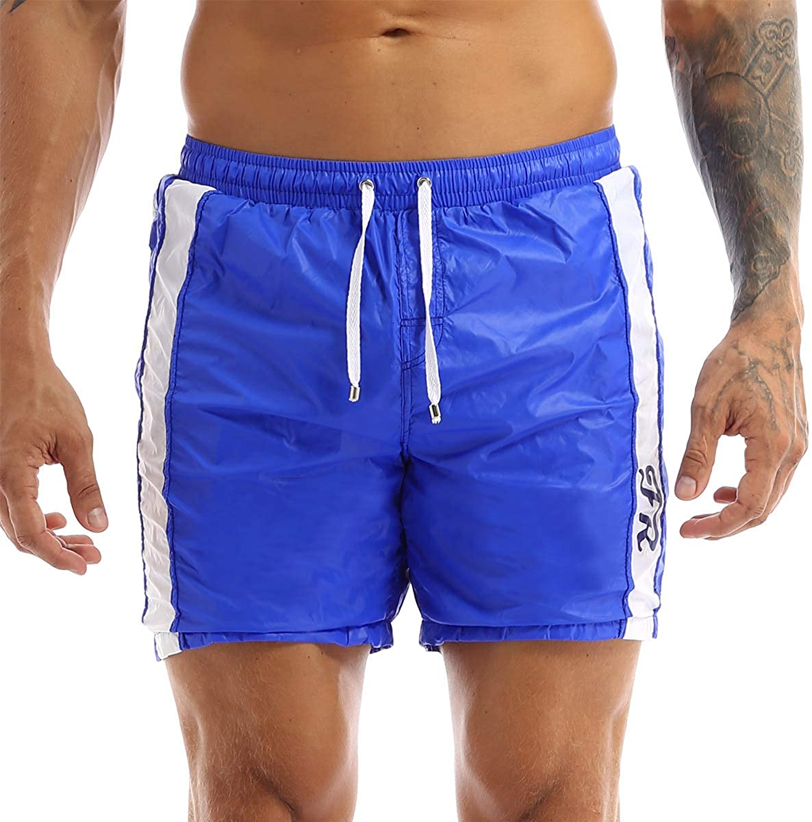 MSemis Mens Drawstring Sport Boxer Shorts Swimsuit Elastic Beach Summer Lounge Shorts with Zip Pockets