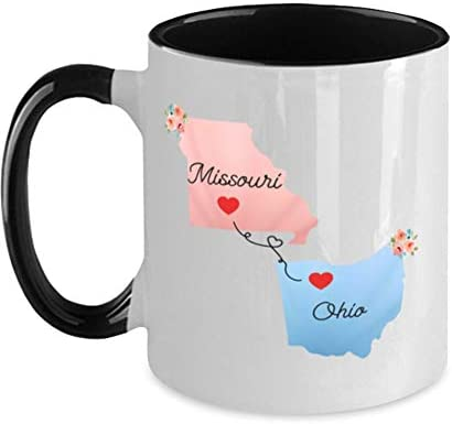 States Accent Mugs Missouri Ohio Gifts - Long Distance State Two Tone Coffee Mug - State To State - Away From Hometown Family - Moving Away Gift Gifts on Christmas, Birthday