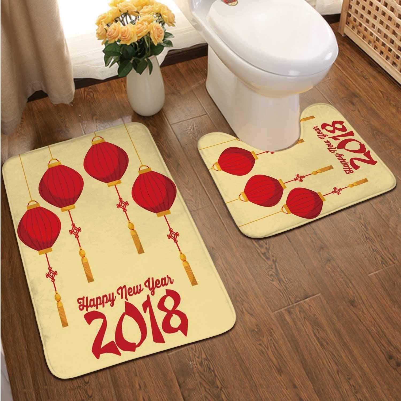 Happ New Ear 2018 Chinese Calendar Card with Lanterns Hanging - - Asia,Bathroom Bath Mat Set, Soft PNon-Skid Shower Rug +Toilet Mat China - East Asia
