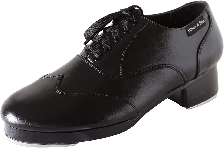 Miller & Ben Tap Shoes, Triple Threat Men's Large Sizes, Black