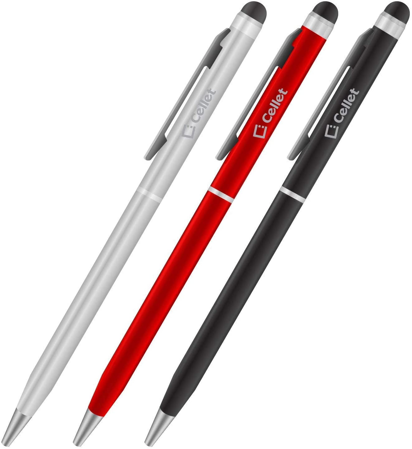 PRO Stylus Pen for Samsung Galaxy Tab S6 with Ink, High Accuracy, Extra Sensitive, Compact Form for Touch Screens [3 Pack-Black-Red-Silver]