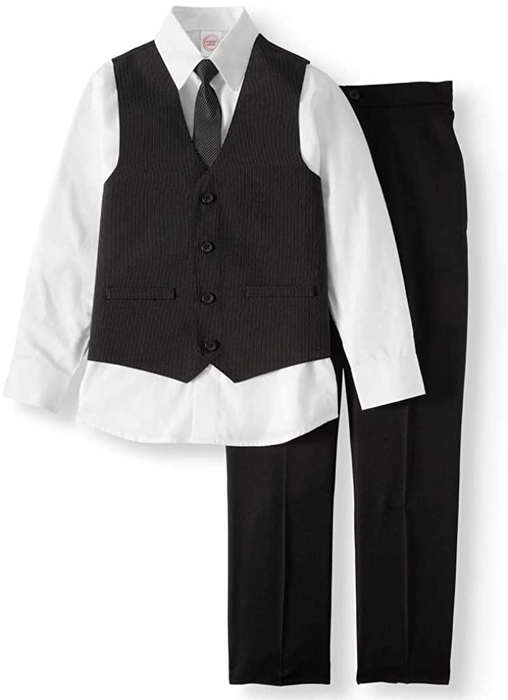 Wonder Nation Toddler Boys Suit (Vest, Dress Shirt, Tie, Pants, 4-Piece Outfit)