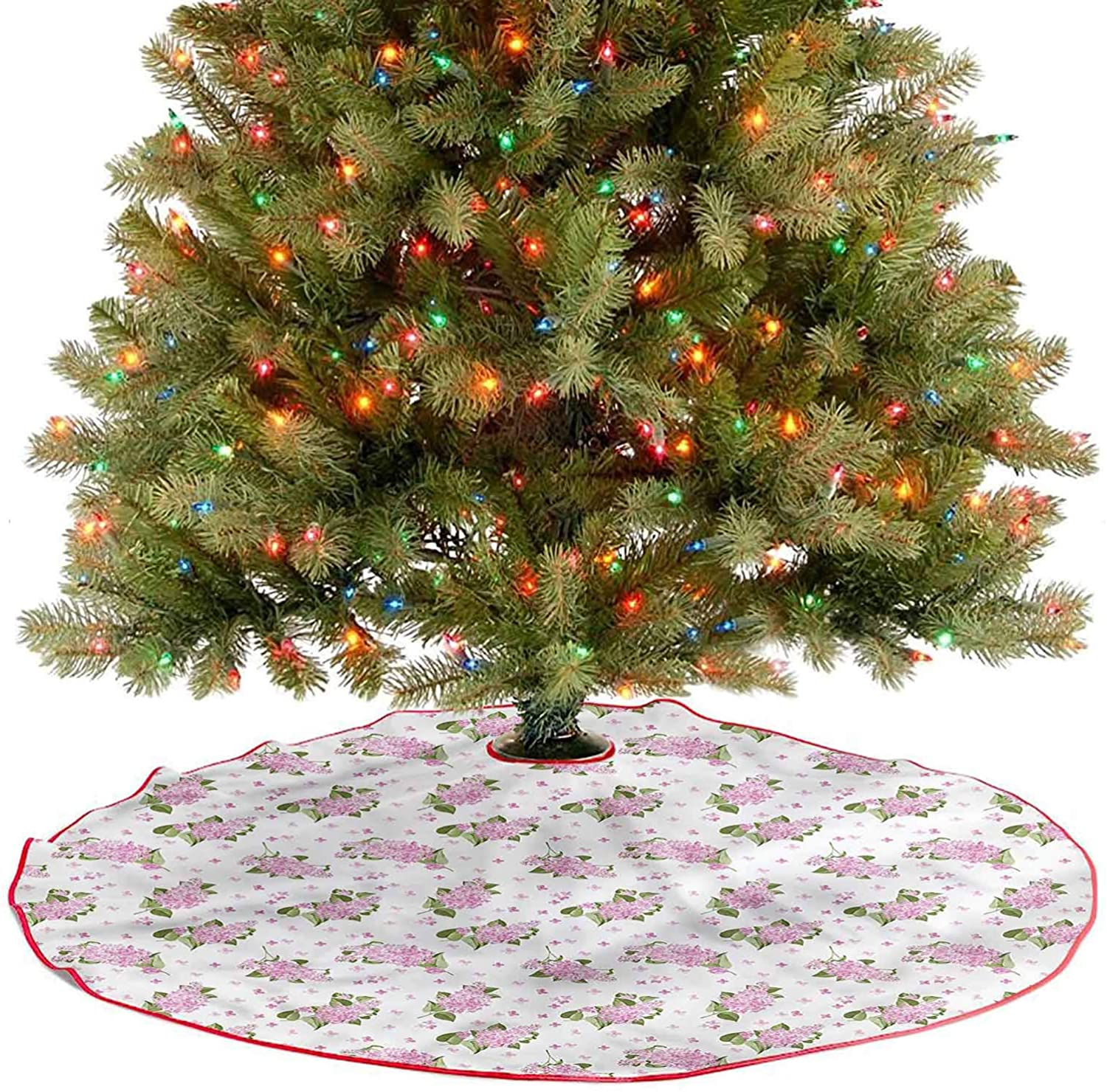 Large Christmas Tree Skirt Flowers Pattern Country Style Holiday Decor Ornaments Covers A Large Amount of Space Under The Tree Diameter - 48 Inch