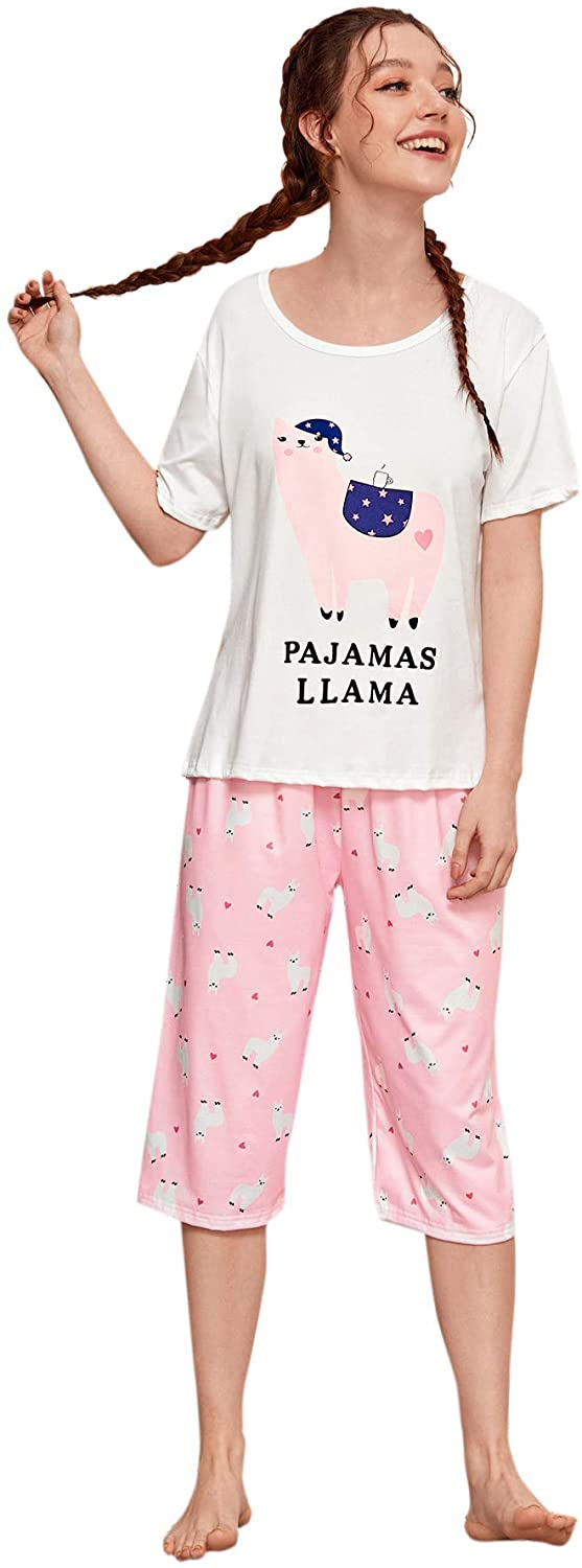 DIDK Women's Cartoon Letter and Fries Short Sleeve Tee and Pants Pajama Sets