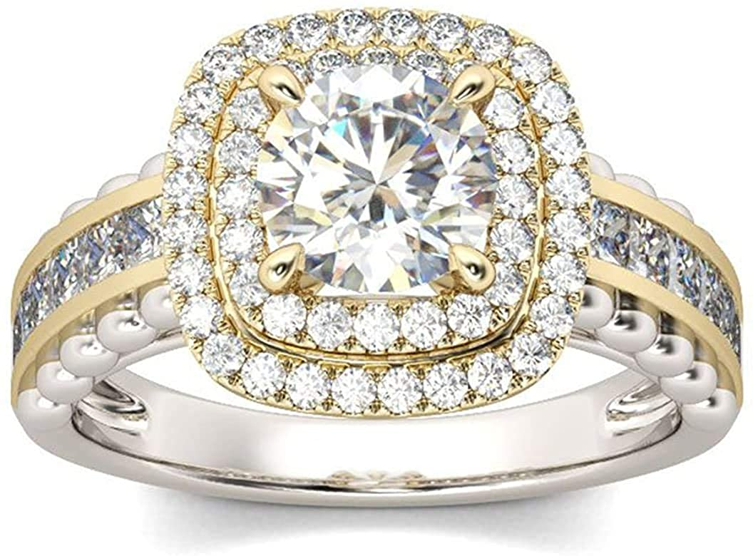 PB Collection 14K Two Tone Plated 925 Sterling Silver Cubic Zirconia Double Halo Engagement Ring