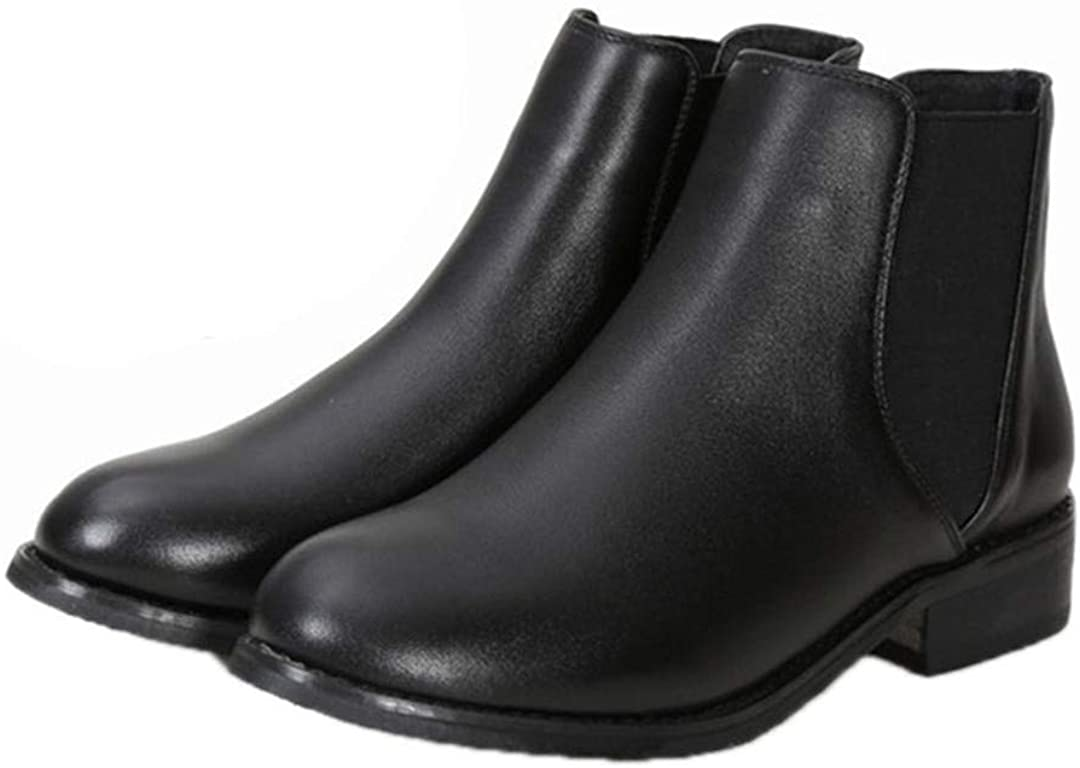 Women Leather Black Ankle Flat Chelsea Comfortable Soft Female Short Boots