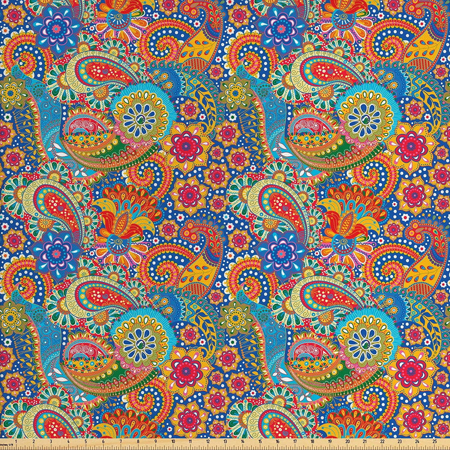 Lunarable Asian Fabric by The Yard, Colorful Paisley Floral Pattern Classical Ornamental Medieval Art, Decorative Fabric for Upholstery and Home Accents, 1 Yard, Blue Yellow