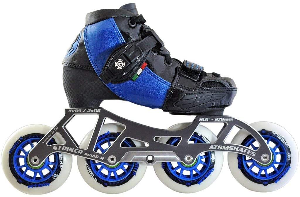 Atom Luigino Kid's 4 Wheel Adjustable Challenge Outdoor Inline Skate Package (Atom Matrix 84mm,Firm,Bionic ABEC7)