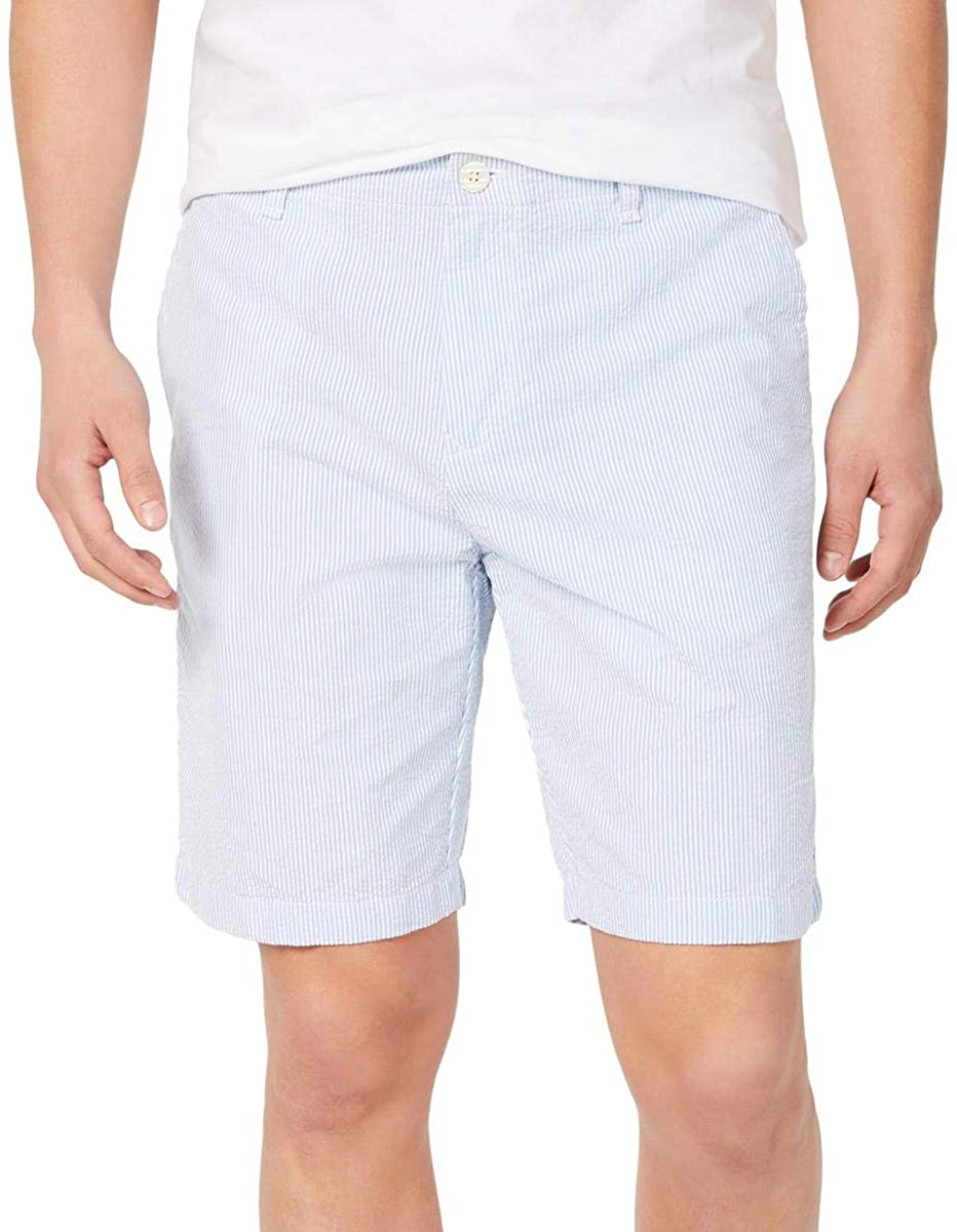 Tommy Hilfiger Mens Isaac Twill Striped Khaki, Chino Shorts