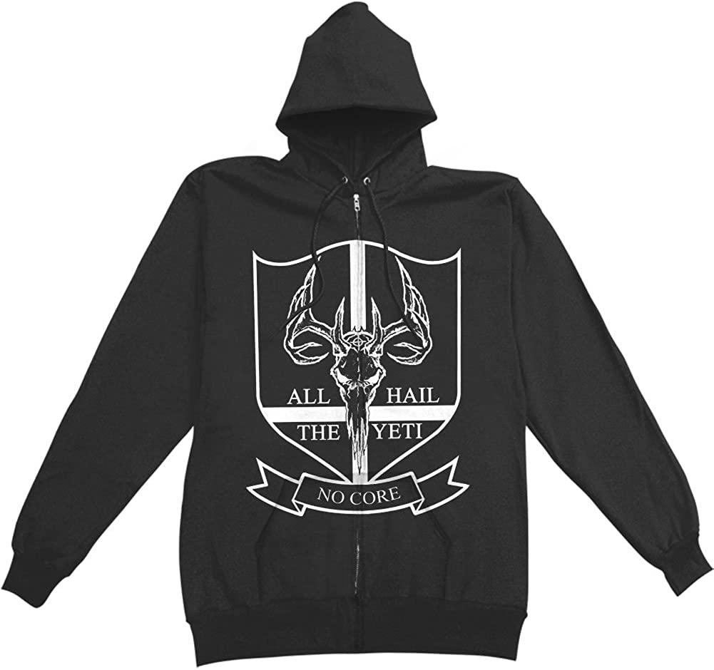 All Hail The Yeti Men's No Core Zippered Hooded Sweatshirt Black