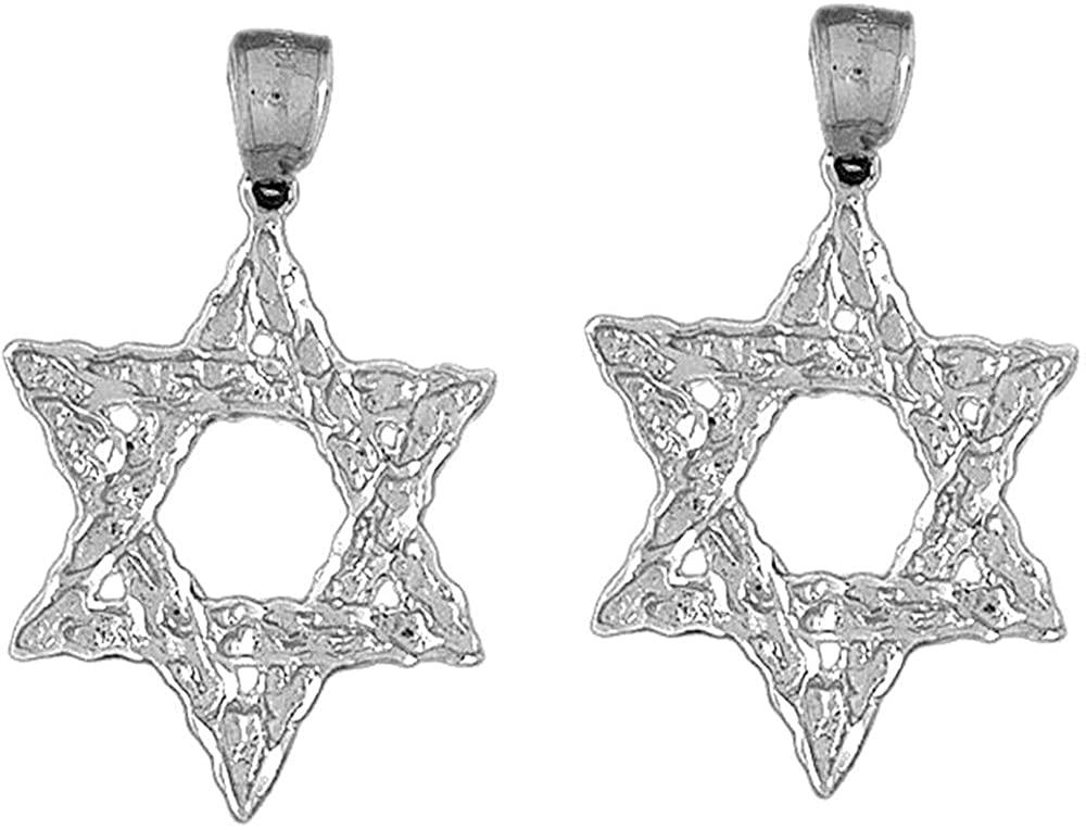 Jewels Obsession Star of David Earrings   14K White Gold Star of David Lever Back Earrings - Made in USA