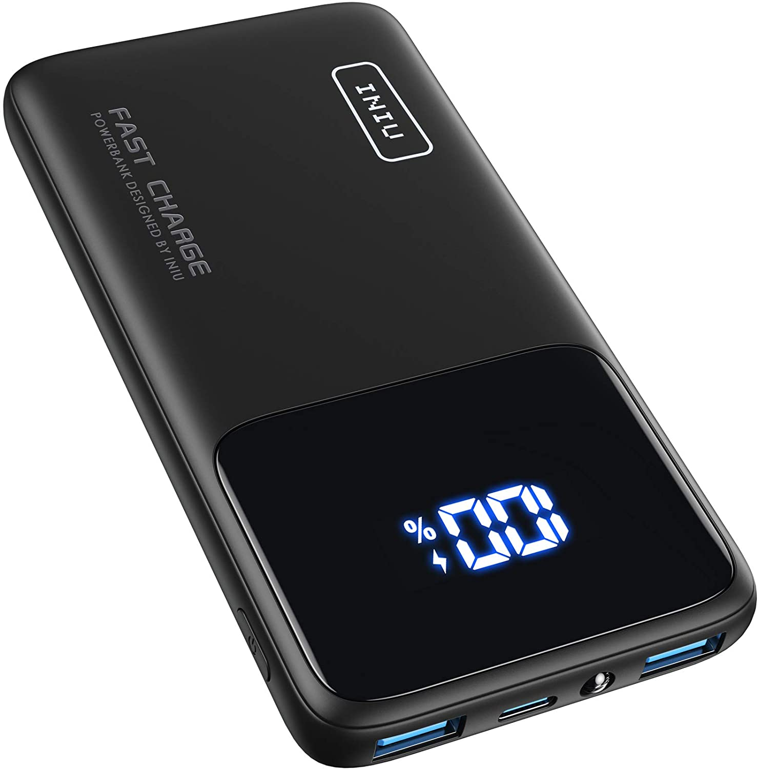 INIU Portable Charger, 18W PD3.0 USB C Fast Charge 10500mAh LED Display Power Bank, Battery Pack with Phone Holder & Flashlight Compatible with iPhone 12 11 XS 8 Samsung S20 Google AirPods iPad LG etc