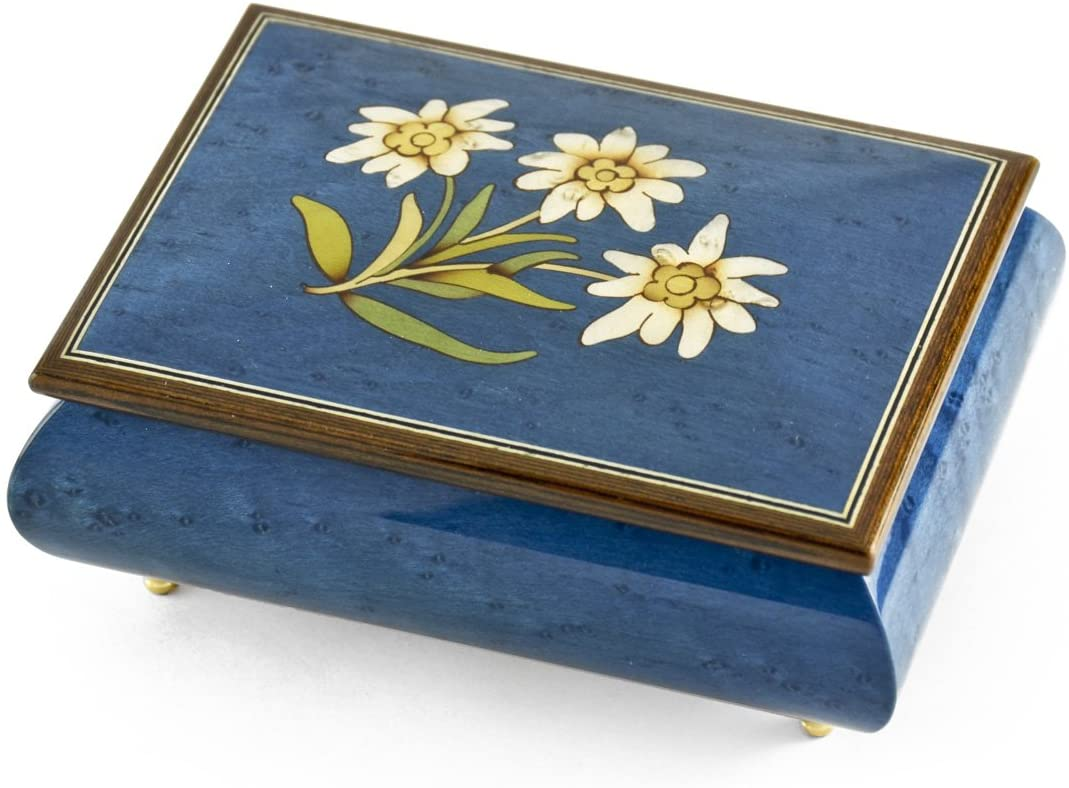 Hand Made 30 Note Royal Blue Edelweiss Inlay Musical Jewelry Box- Many Songs to Choose - My Heart Will Go On