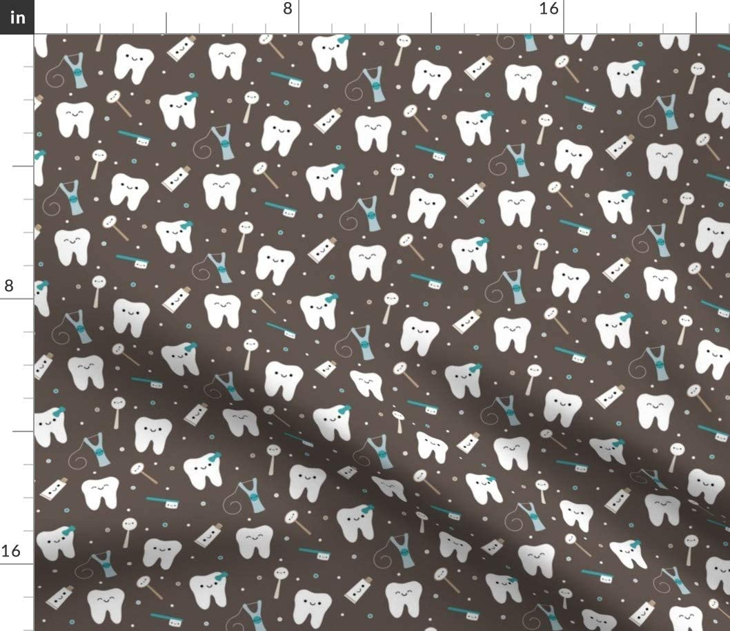 Spoonflower Fabric - Happy Teeth & Friends Brown & Teal Tooth Cute Kawaii Dental Dentist Printed on Petal Signature Cotton Fabric by The Yard - Sewing Quilting Apparel Crafts Decor