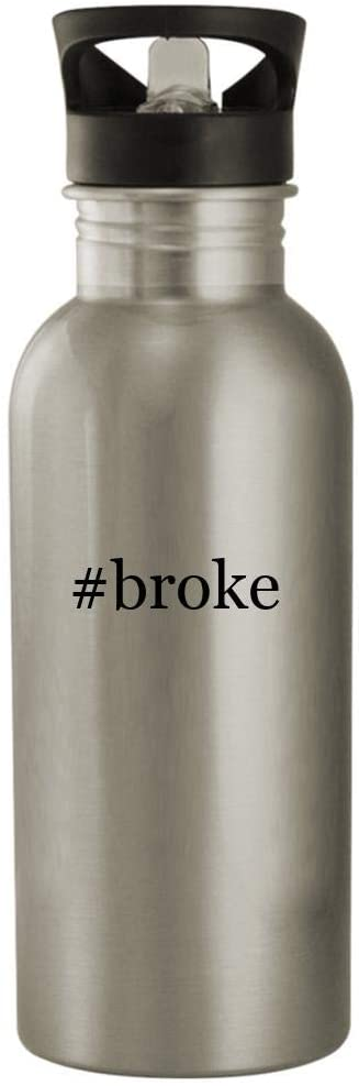 #broke - 20oz Stainless Steel Hashtag Outdoor Water Bottle, Silver