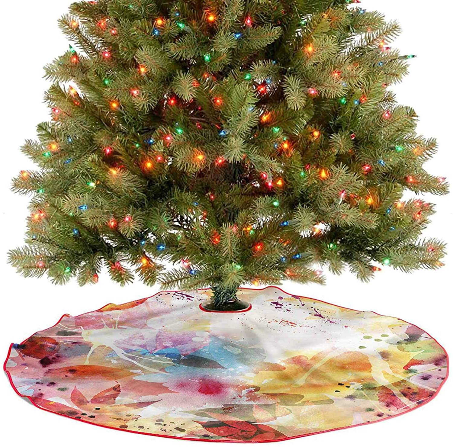 ThinkingPower Soft Christmas Tree Mat Psychedelic Murky Flowers Holiday Party Tree Mat Goes Perfectly with Your Tree Diameter - 30 Inch