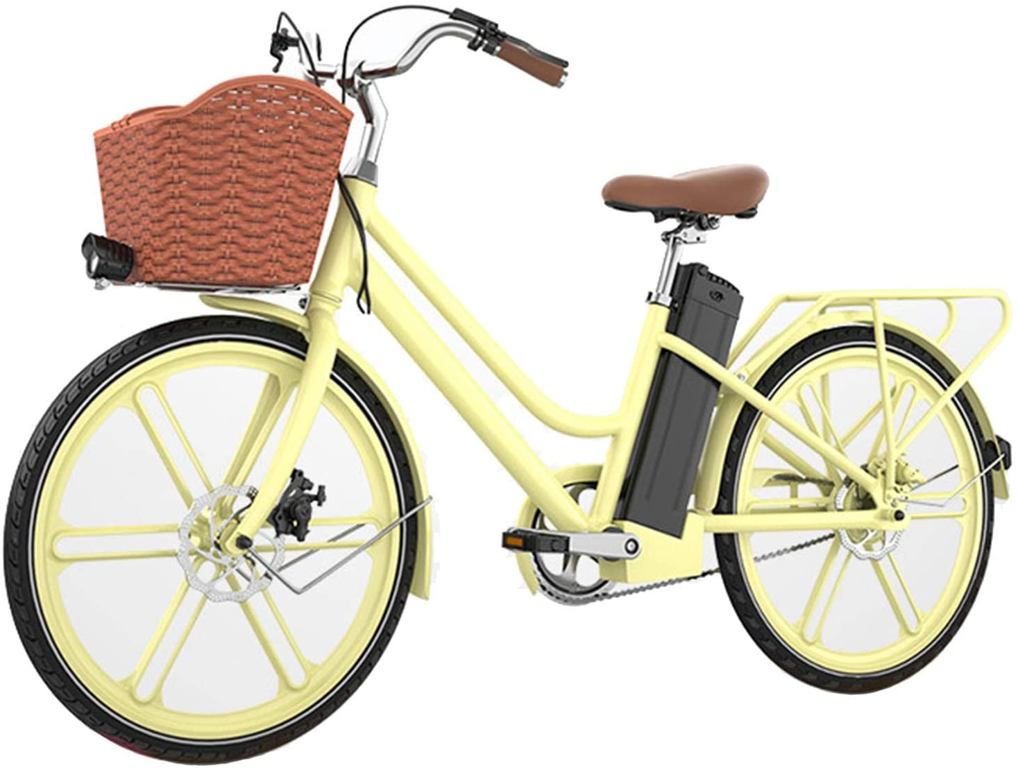 HWOEK 26'' Electric Bike for Adult, Lightweight and Stylish Lady E-Bike 250W 36V 10AH Large Capacity Lithium-Ion Battery with LCD Display and Dual Disc Brakes