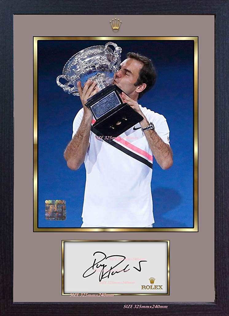 S&E DESING Roger Federer Signed Autograph Tennis Framed Photo Picture Print