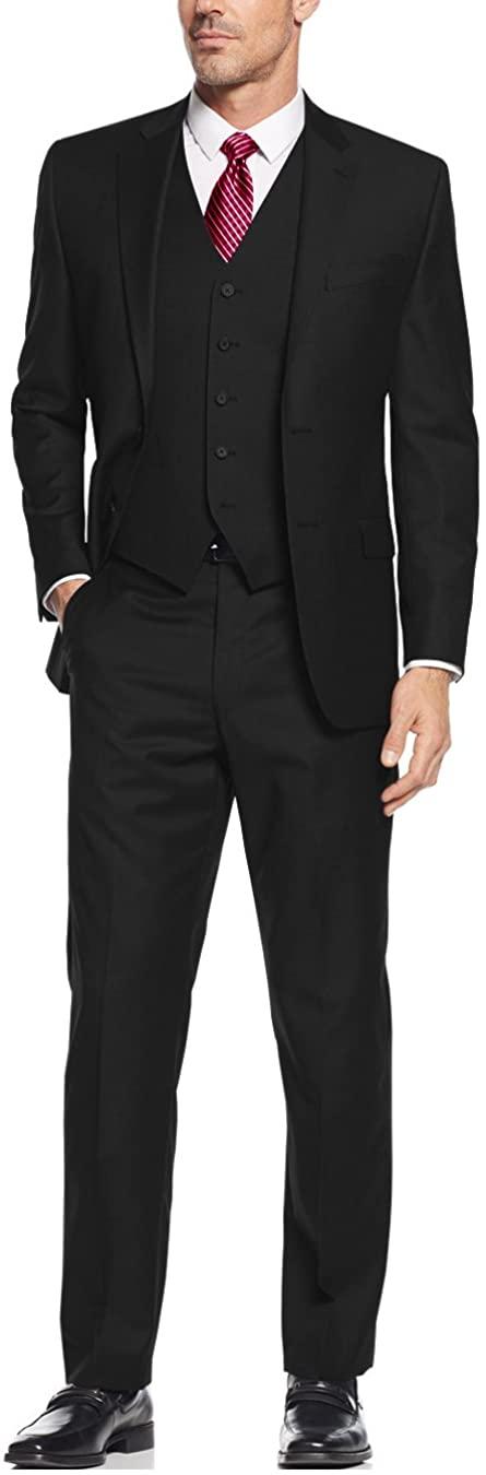 Salvatore Exte Men's Vested Three Piece Suit Blazer Jacket Dress Vest Plus Pant (46 Long US / 56L EU/W 40