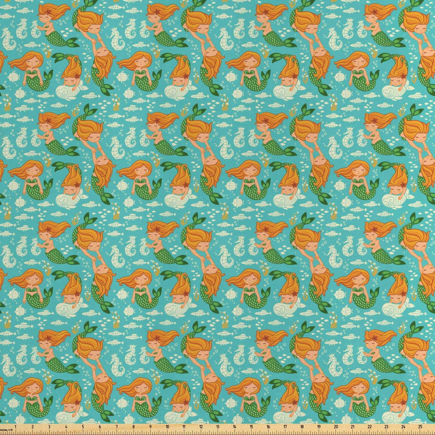 Ambesonne Underwater Fabric by The Yard, Underwater World Little Mermaid Girls Friends Seahorse Fish Shells, Decorative Satin Fabric for Home Textiles and Crafts, Turquoise Marigold Green