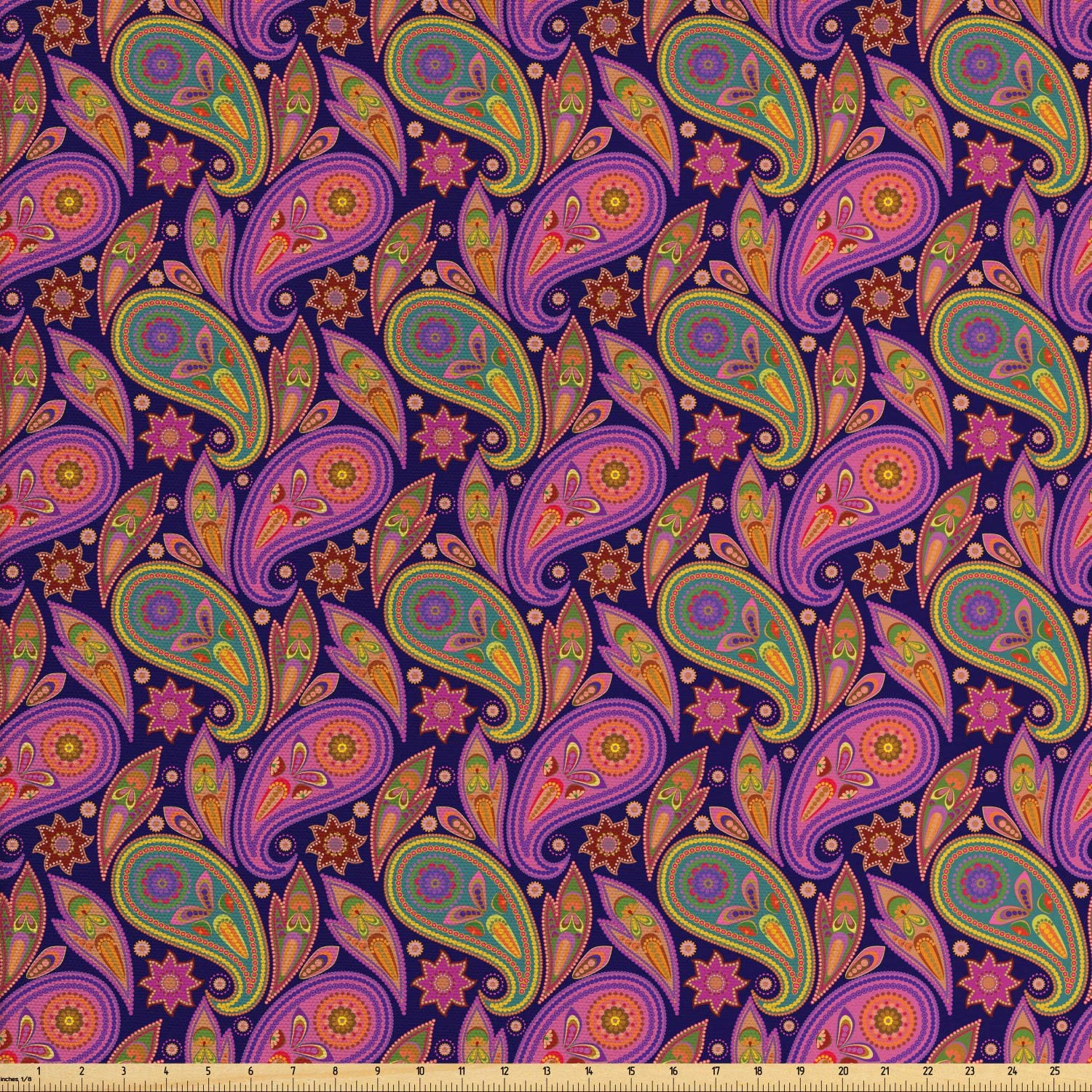 Ambesonne Traditional Fabric by The Yard, Paisley Pattern with Flowers and Leaves Colorful Dots Ethnic Art, Decorative Fabric for Upholstery and Home Accents, 1 Yard, Dark Purple Multicolor