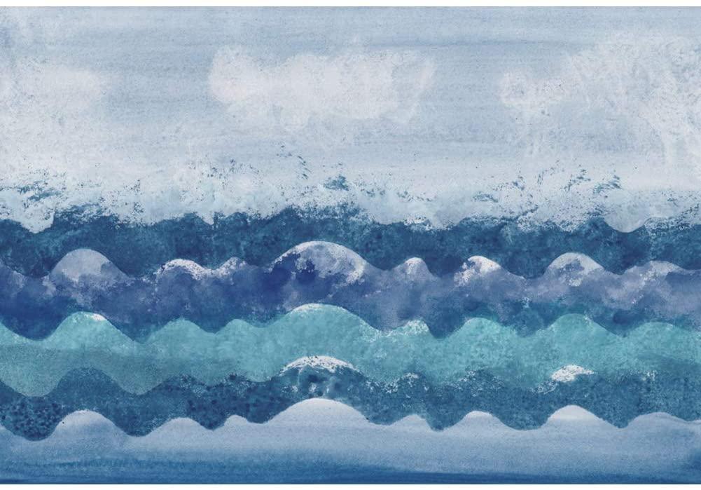 Leowefowa Vinyl 6x4ft Abstract Sea Wave Backdrop Marine Theme Birthday Banner Photography Backgroud Child Boy Room Wallpaper Summer Holiday Beach Party Baby Adult Photo Studio Props Wall Art