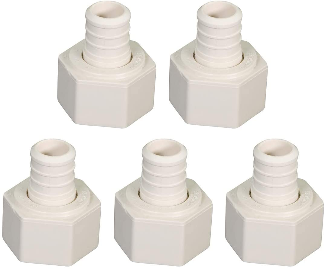 Supply Giant QQDB0034-5 Pexflow PPCA0034-5 Plastic Poly Alloy Swivel Adapter Pex x FPT Barb Pipe Fitting 3/4 Inch Pack of 5, 3/4 x 3/4, White