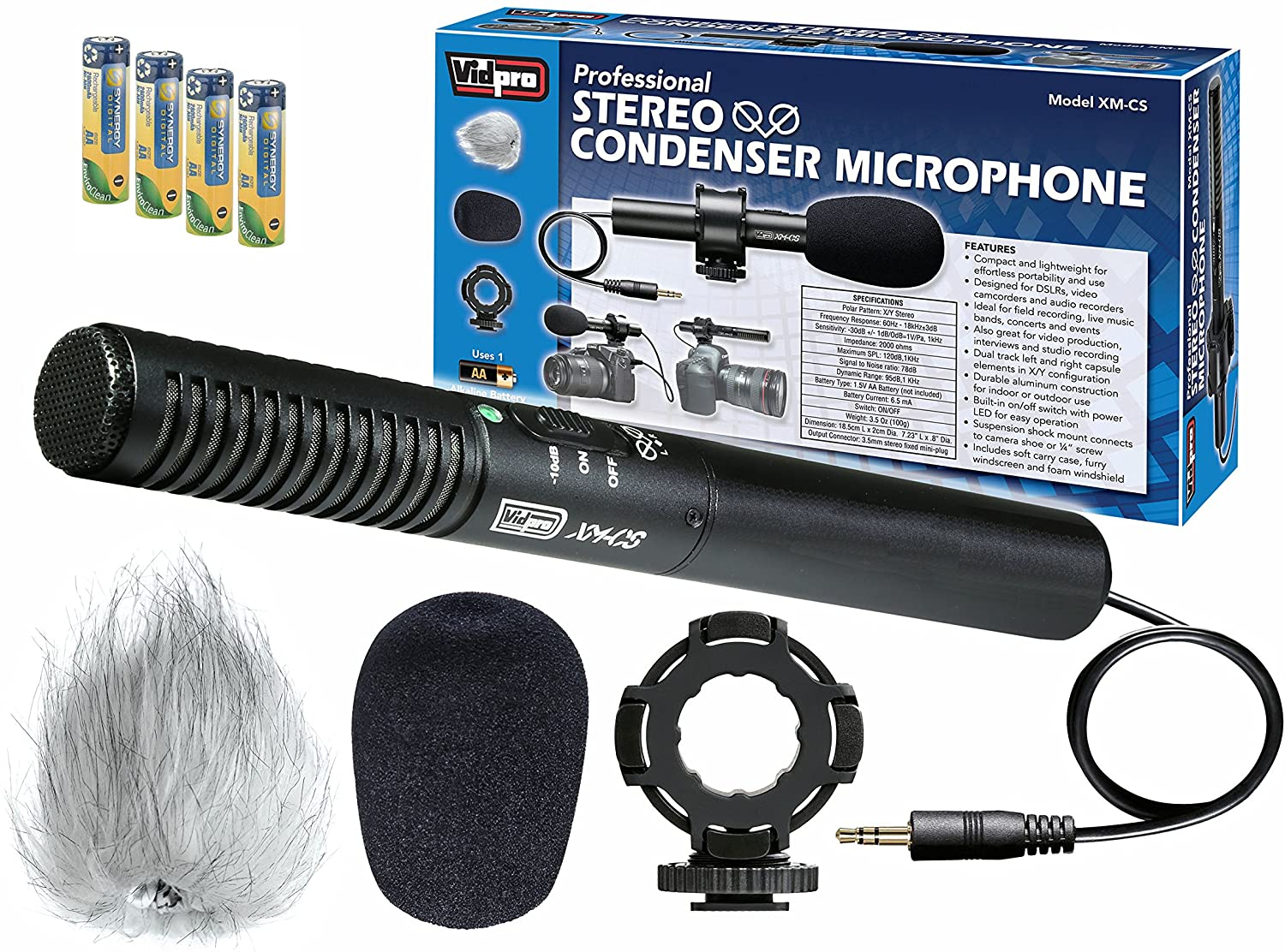 Canon ZR-10 Camcorder External Microphone Vidpro XM-CS Condenser Stereo XY Microphone Kit for DSLR's, Video camcorders and Audio recorders - with a Pack of 4 AA NiMH Rechargable Batteries - 2800mAh
