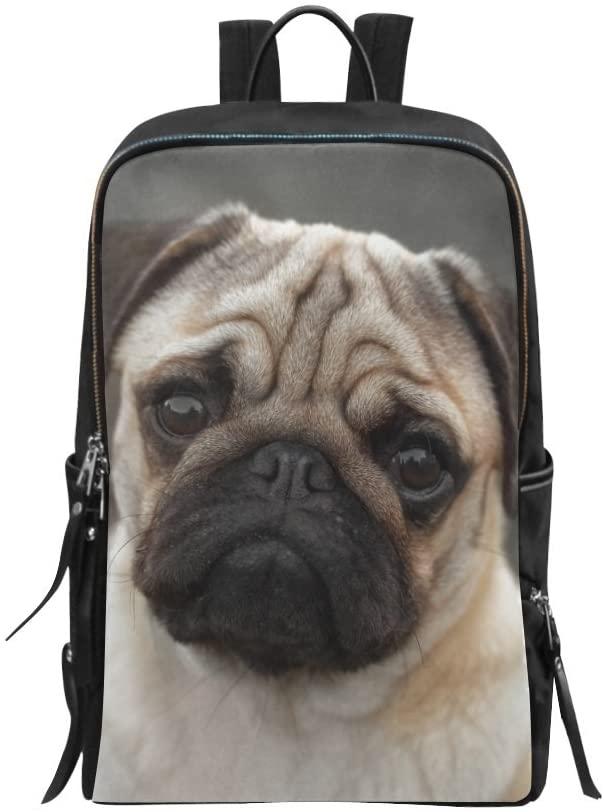 Bag Backpack Beautiful Male Pug Puppy Sad Dog Daypack