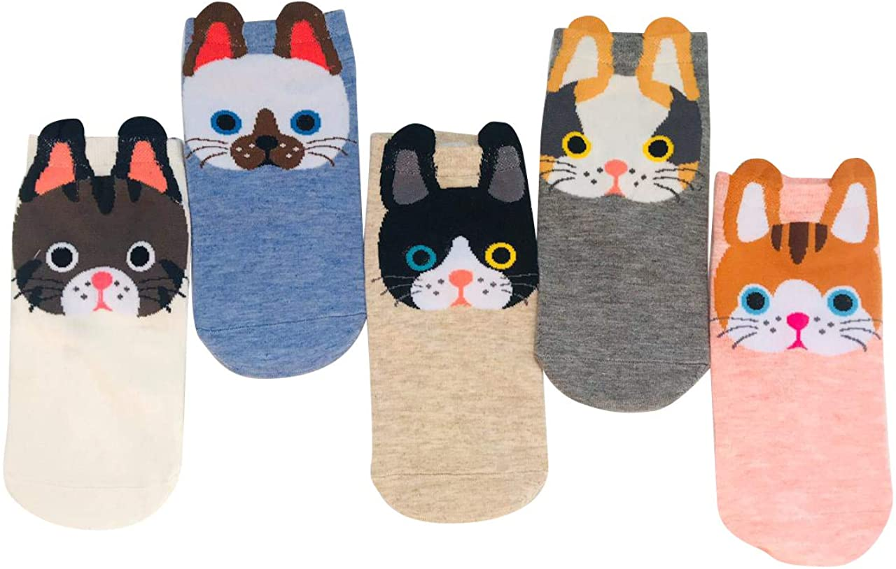 5 Pair Women´s Animal Socks- Novelty Socks-Cute-Funny-MulticolorAnkle Socks-Low Cut Fashion Casual Socks