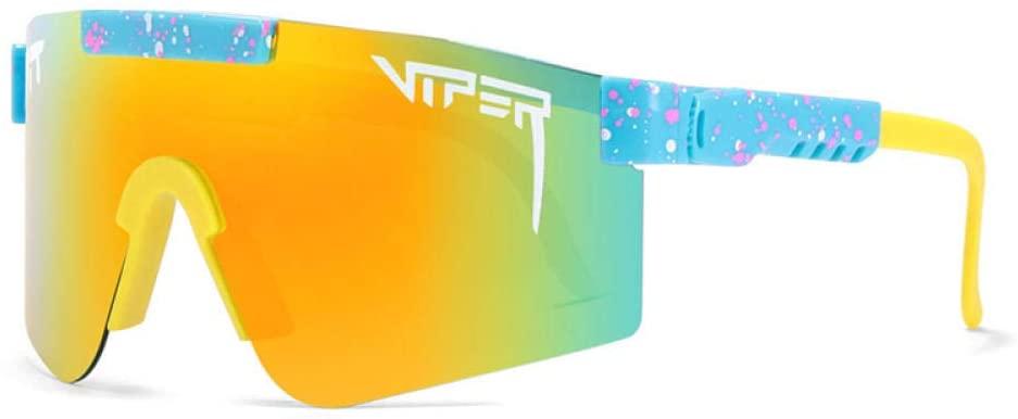 TYUJHG Original Pit Viper Polarized Bike Sunglasses for Cycling Men Women Sports Fishing Golf Baseball Running Glasses Double Wide Polarized Mirrored Blue Lens Tr90 Frame Uv400 Protection