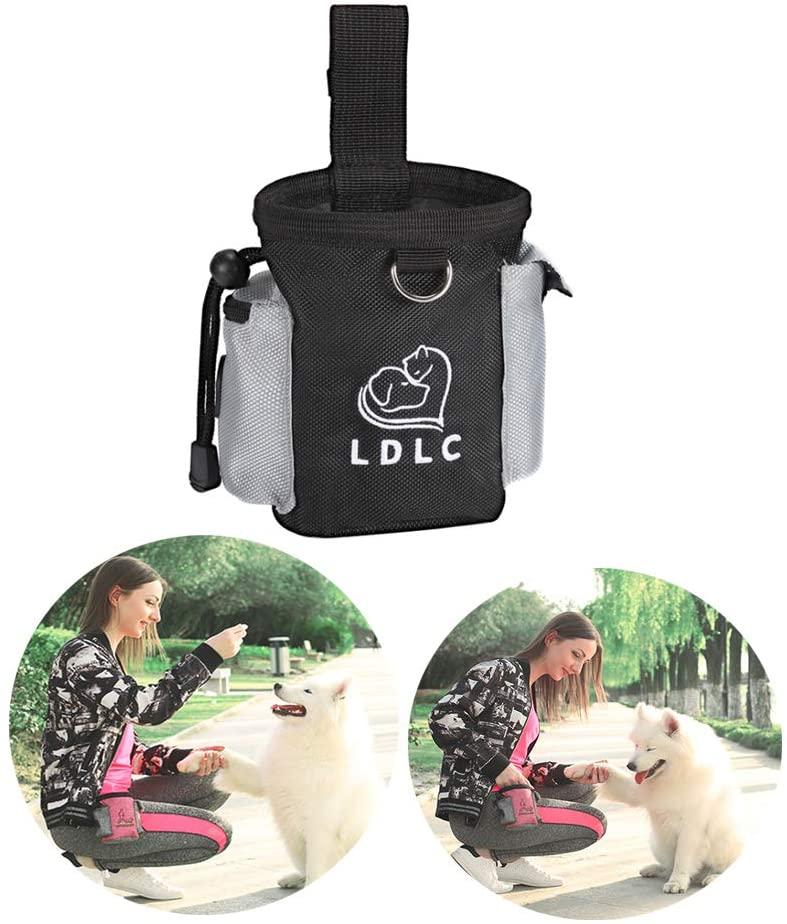 Dog Treat Pouch Doggie Training Waist Clip Bag Portable Puppy Food Snack Carrier Holder Bag with Adjustable Waistband Poop Bag Dispenser Drawstring Design Pet Reward Bait Items Storage Pocket
