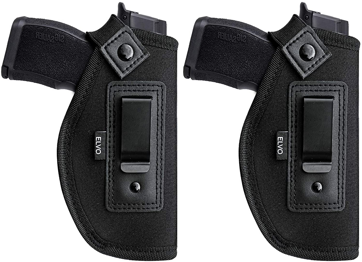 2 Pack Universal IWB Gun Holster for Concealed Carry, Inside The Waistband Pistols Holsters, Fits All Firearms S&W M&P Shield 9/40 Taurus PT111 G2 Sig Sauer 1911 P365 P320 Glock 17 19 26 27 42 43…