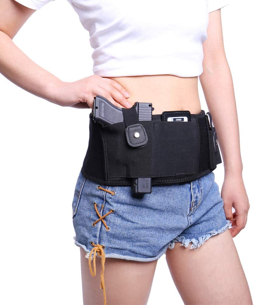 """Fonrroni Adjustable Belly Holster for Concealed Carry, Fits up to 53"""" Waist Holster, Universal Holster for Female/Male, Fits S&W, M&P Sheild, Glock 19,26,37,43, Ruger SR40, Black"""