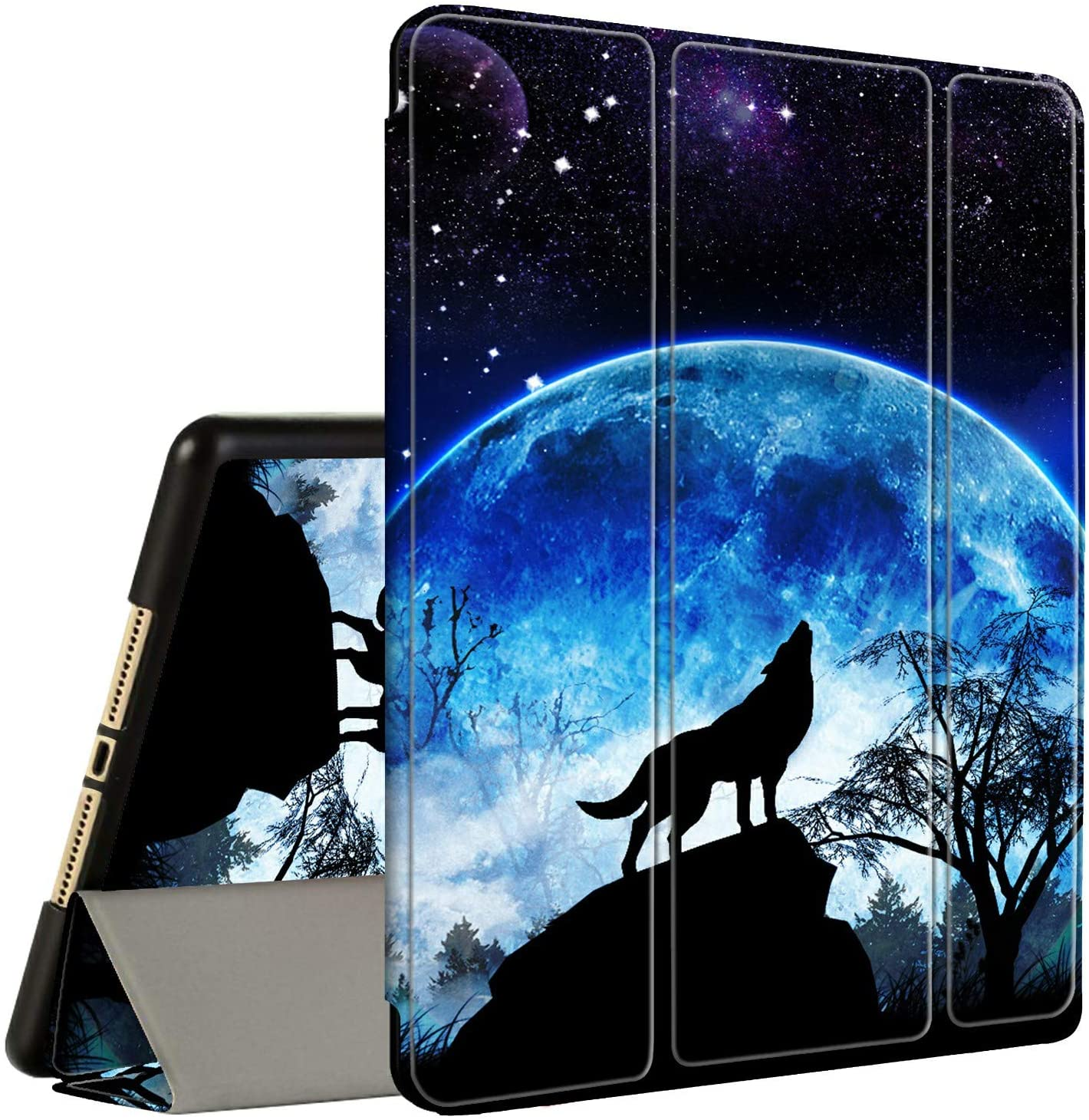 iPad 9.7 2018/2017 Case, ipad 6th/5th Generation Case with Pencil Holder, Amook Tri-Fold Smart Cover Stand Shockproof Case for 9.7 inch ipad 2017 2018 & ipad Air 1/2- Howling Wolf Full Moon