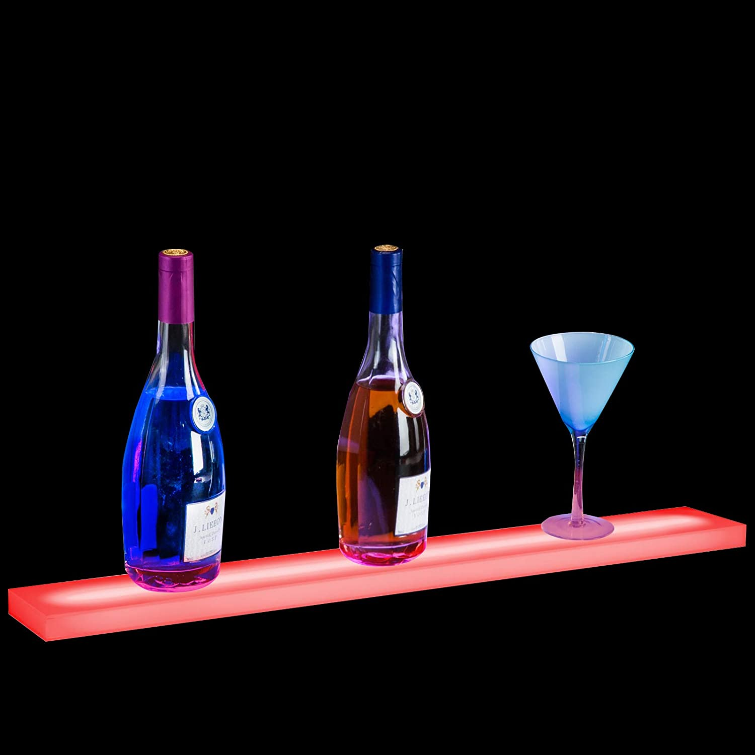 Nurxiovo 20/24/32/36 Inch LED Lighted Liquor Bottle Display Stand Floating Lighting Bar Shelf Illuminated Home and Commercial Bar Wall-Mounted Racks with RF Remote Control