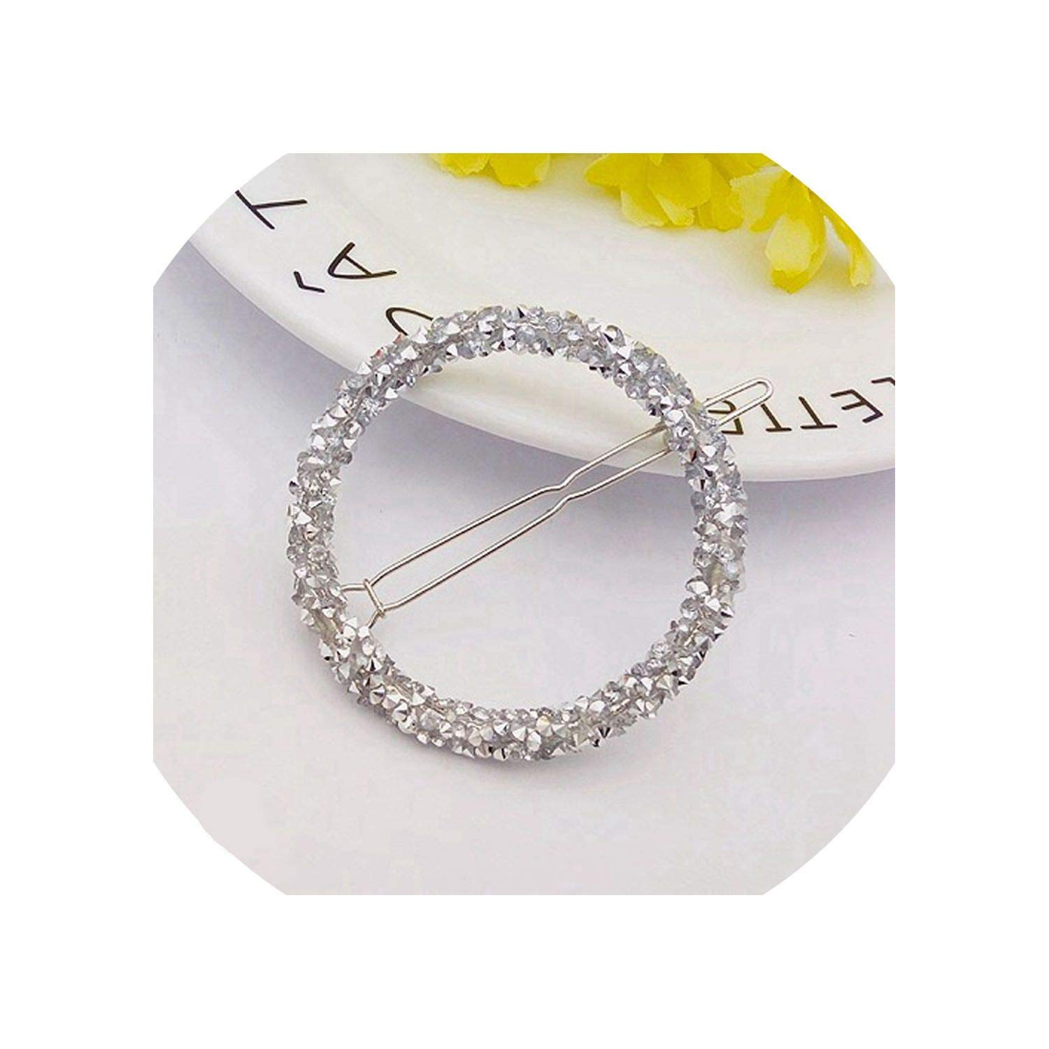 1 Pcs Fashion Crystal Rhinestones Hairpin Star Triangle Round Shape Women Hair Clips Barrettes Hair Styling Accessories,Round Silver