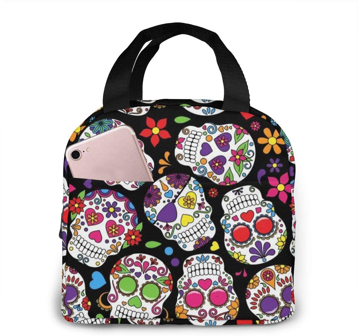 ~ Lunch Bag A Day's Worth of Dead Sugar Skull for Women Girls Kids Insulated Picnic Pouch Thermal Cooler Tote Cute Bento Bag Big Leakproof Soft Bags Lunch Camping Box Bags