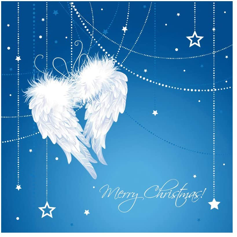 DORCEV 7x7ft Angel Wings Backdrop Heaven Sent Theme Newborn Baby Shower Photography Background White Feather Angle Wings Little Stars Wallpaper Newborn Child Adults Portrait Photo Studio Props