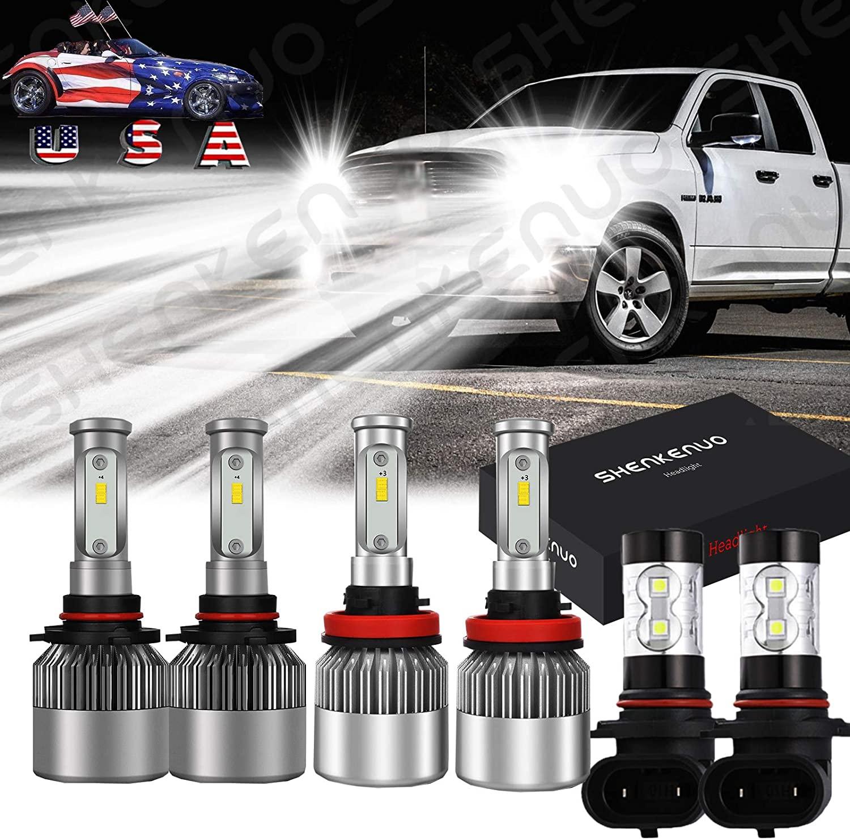 9005 H11 LED Headlight Kit Hi/Lo 10000 Lumens Headlights Conversion Kit 6000K &9145/9140 Fog Lights,IP67 Waterproof, For 2009 2010 2011 Dodge Ram 1500 2500 3500,Ford F-150 2015-19