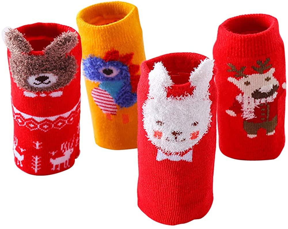 4PCs Kids Christmas Socks Warm Winter Holidays Gift for Unisex Baby Girls Boys