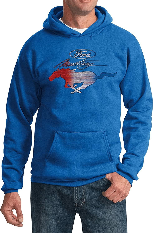 Ford Mustang Pony Emblem Sweatshirt Hoodie (RED White & Blue USA)