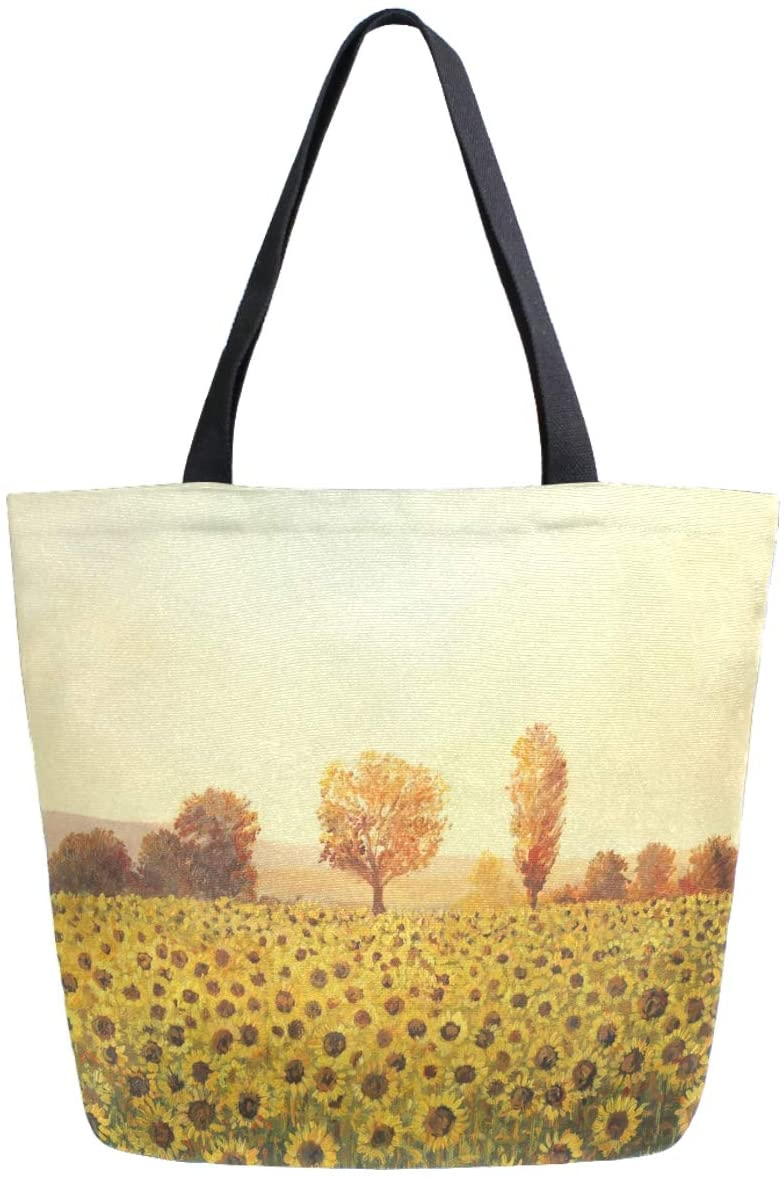 ZzWwR Beautiful Sunflower Field Print Extra Large Canvas Beach Travel Reusable Grocery Shopping Tote Bag Portable Storage HandBag