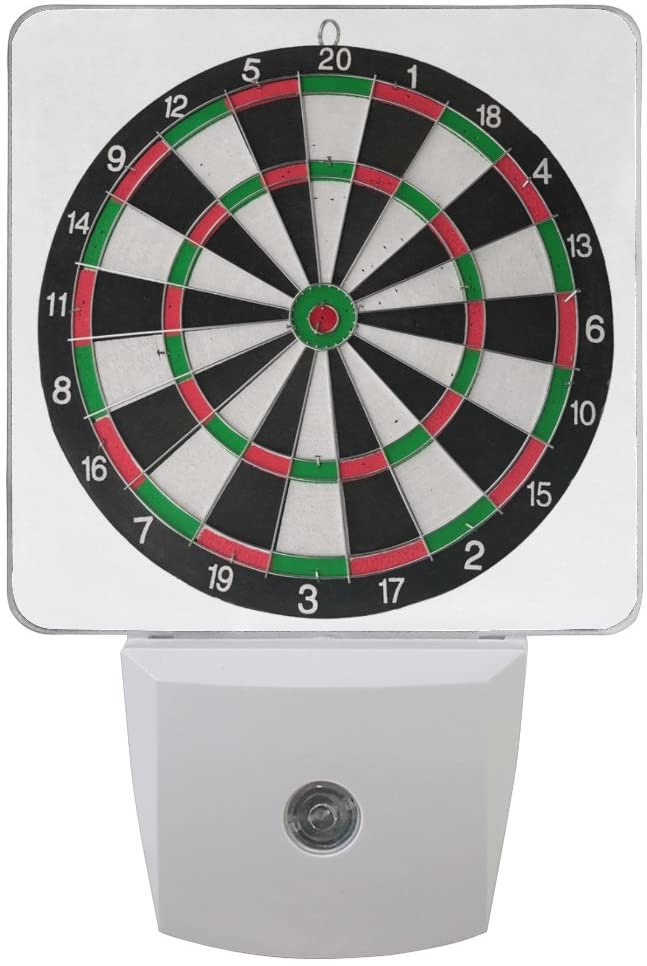 Naanle Set of 2 Dart Board Target On White Background Auto Sensor LED Dusk to Dawn Night Light Plug in Indoor for Adults
