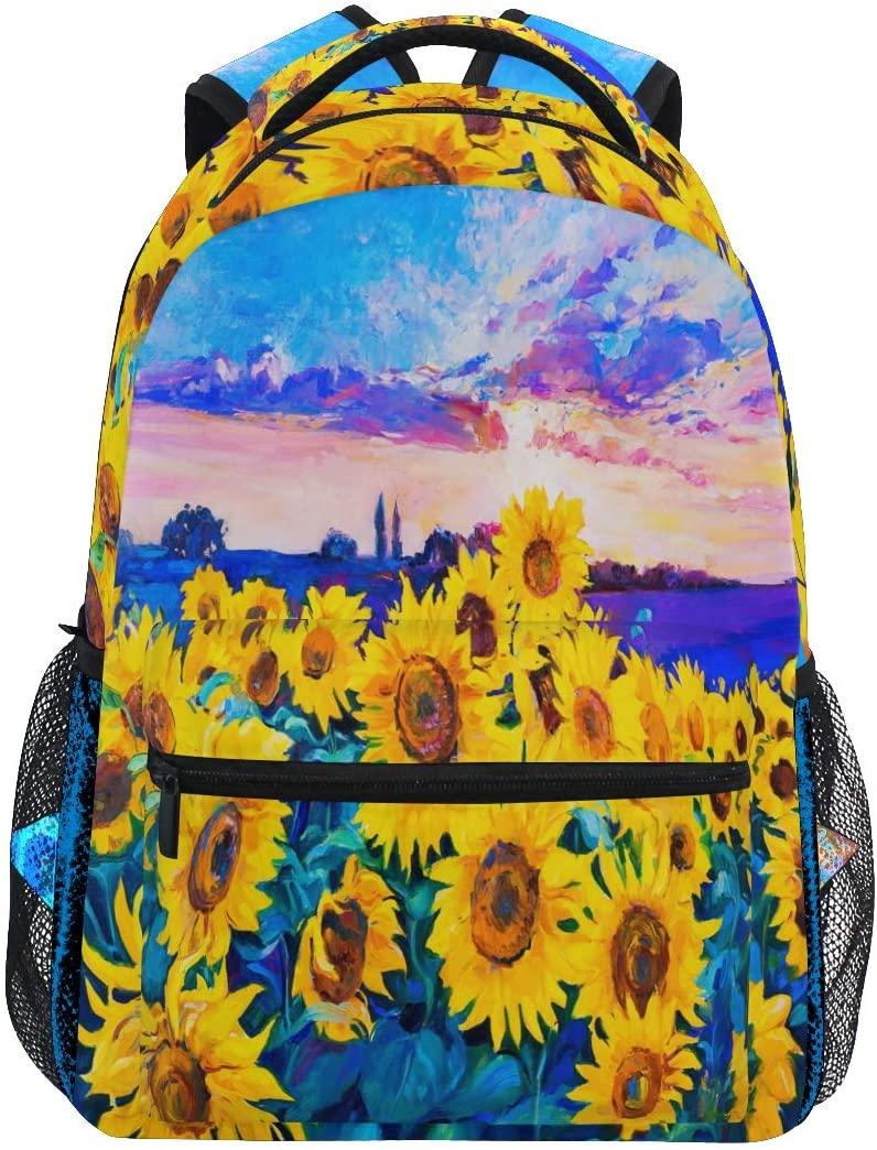 ALAZA Watercolor Sunflower Floral Backpack Daypack College School Travel Shoulder Bag